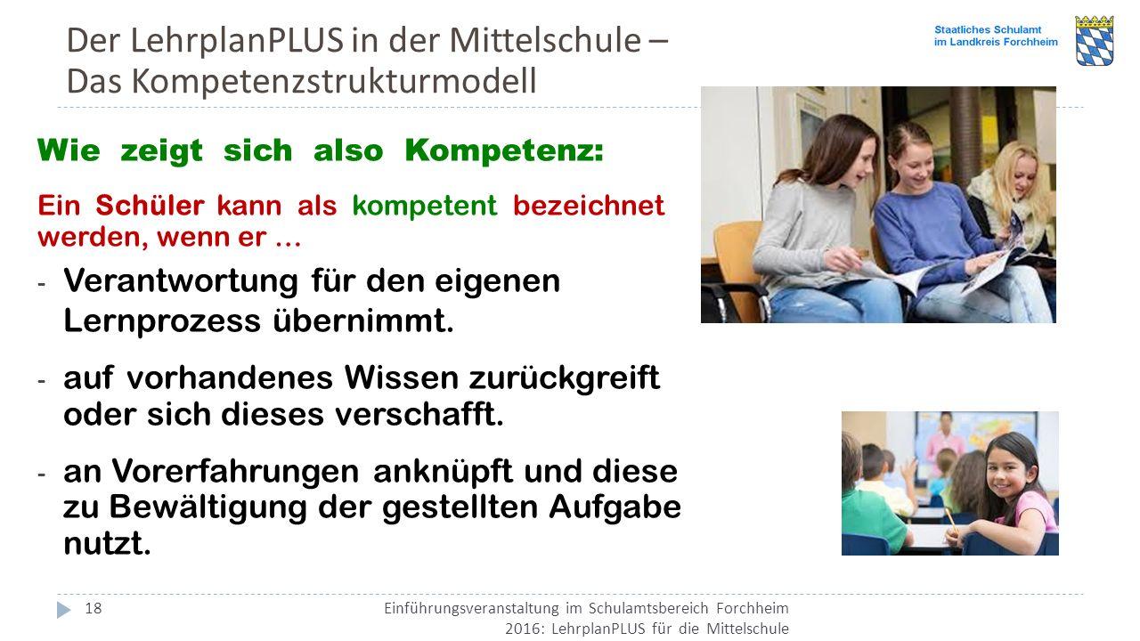 Der LehrplanPLUS in der Mittelschule – Das Kompetenzstrukturmodell