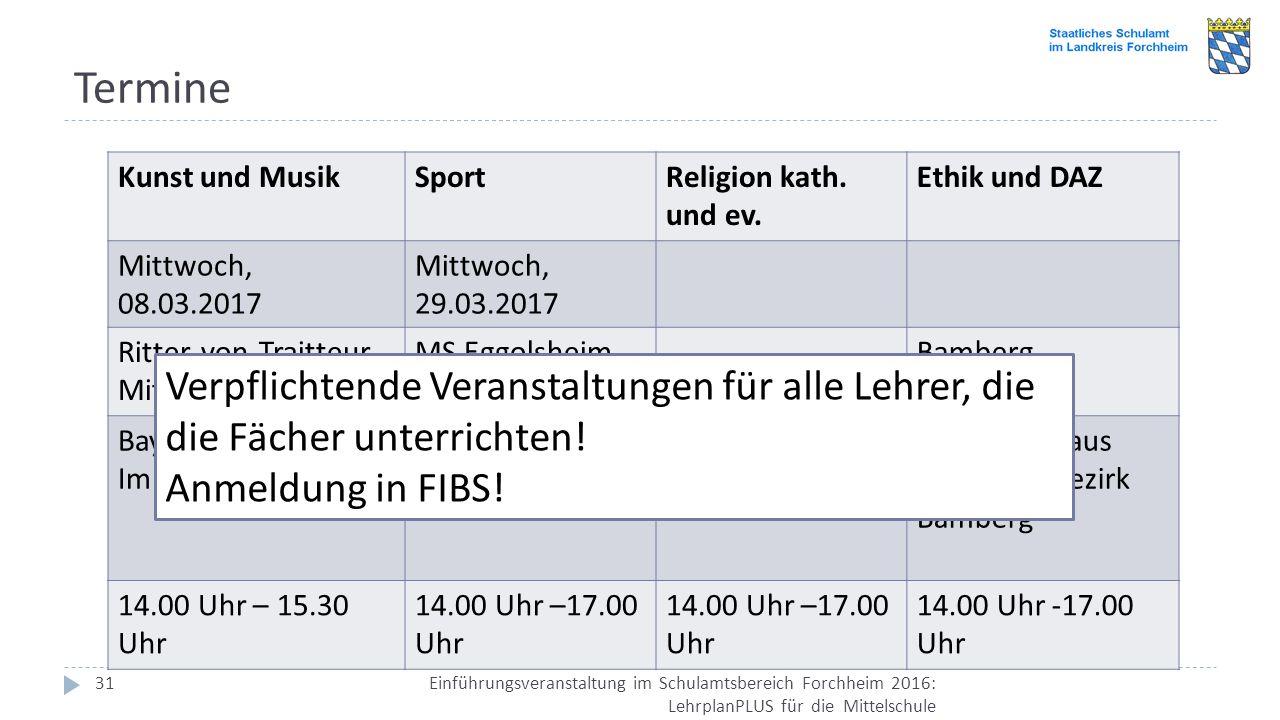 Termine Kunst und Musik. Sport. Religion kath. und ev. Ethik und DAZ. Mittwoch, 08.03.2017. Mittwoch, 29.03.2017.