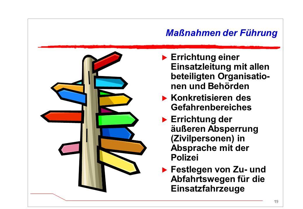 Maßnahmen der Führung Errichtung einer Einsatzleitung mit allen beteiligten Organisatio-nen und Behörden.