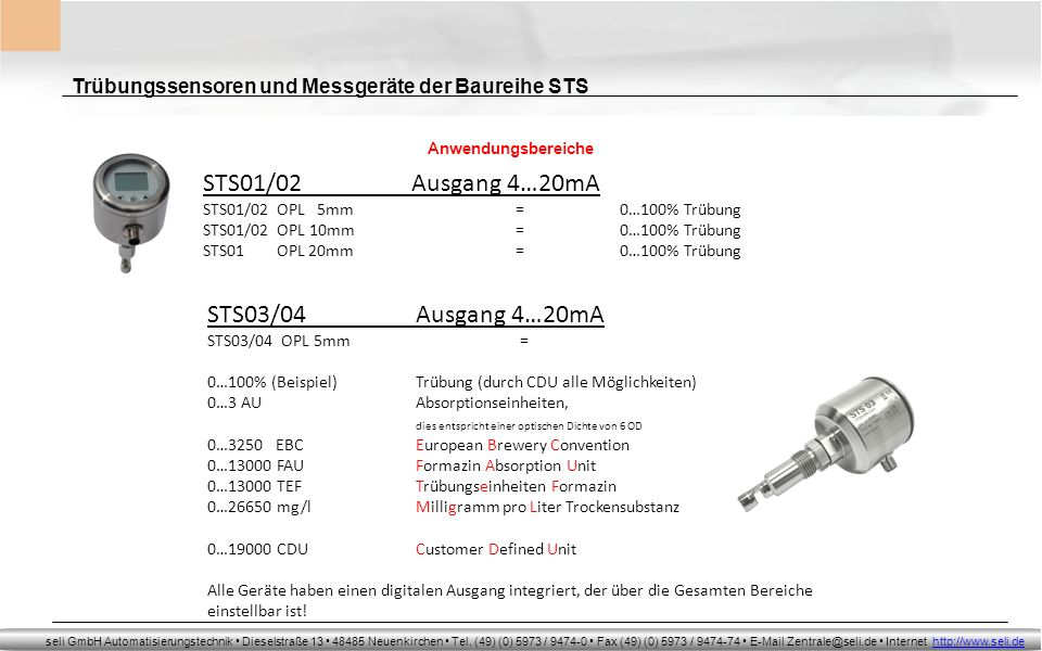 STS01/02 Ausgang 4…20mA STS03/04 Ausgang 4…20mA