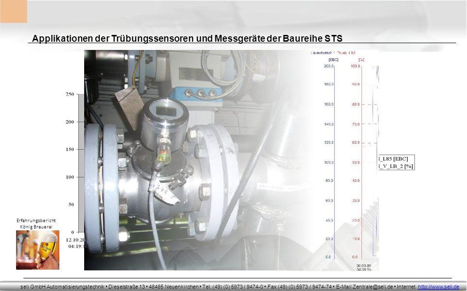 Applikationen der Trübungssensoren und Messgeräte der Baureihe STS
