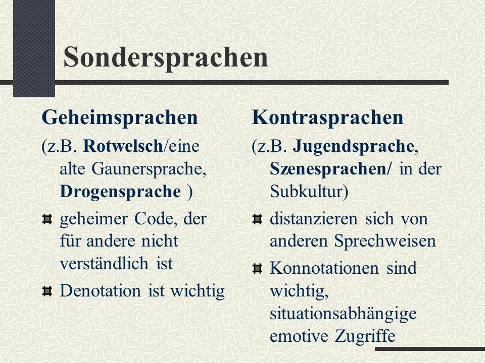 Sondersprachen Geheimsprachen Kontrasprachen