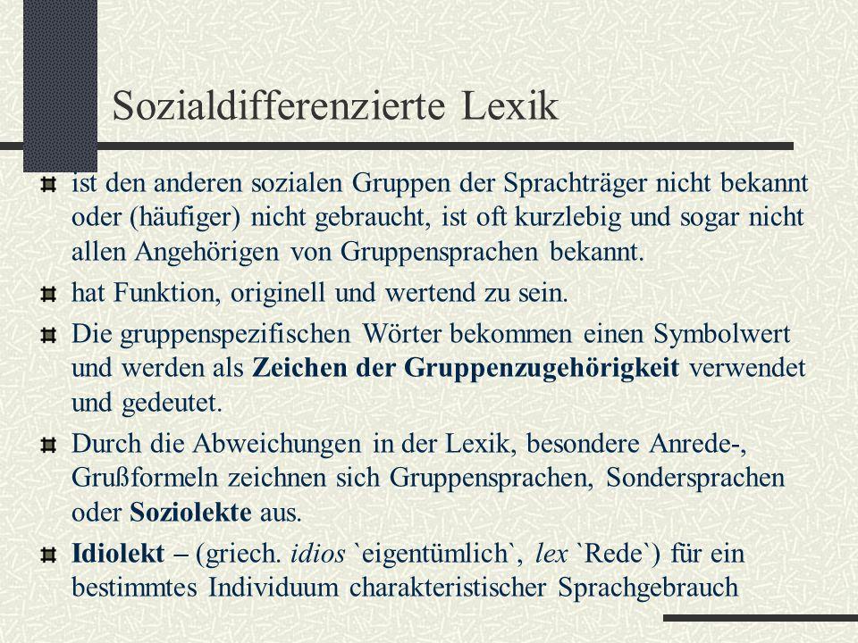 Sozialdifferenzierte Lexik