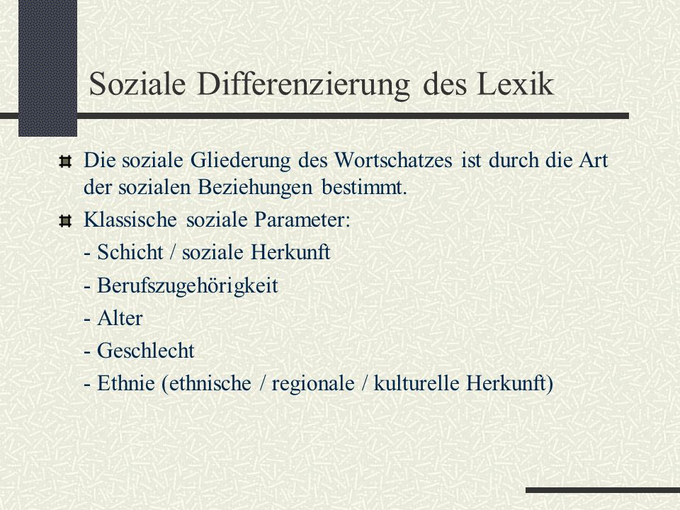 Soziale Differenzierung des Lexik