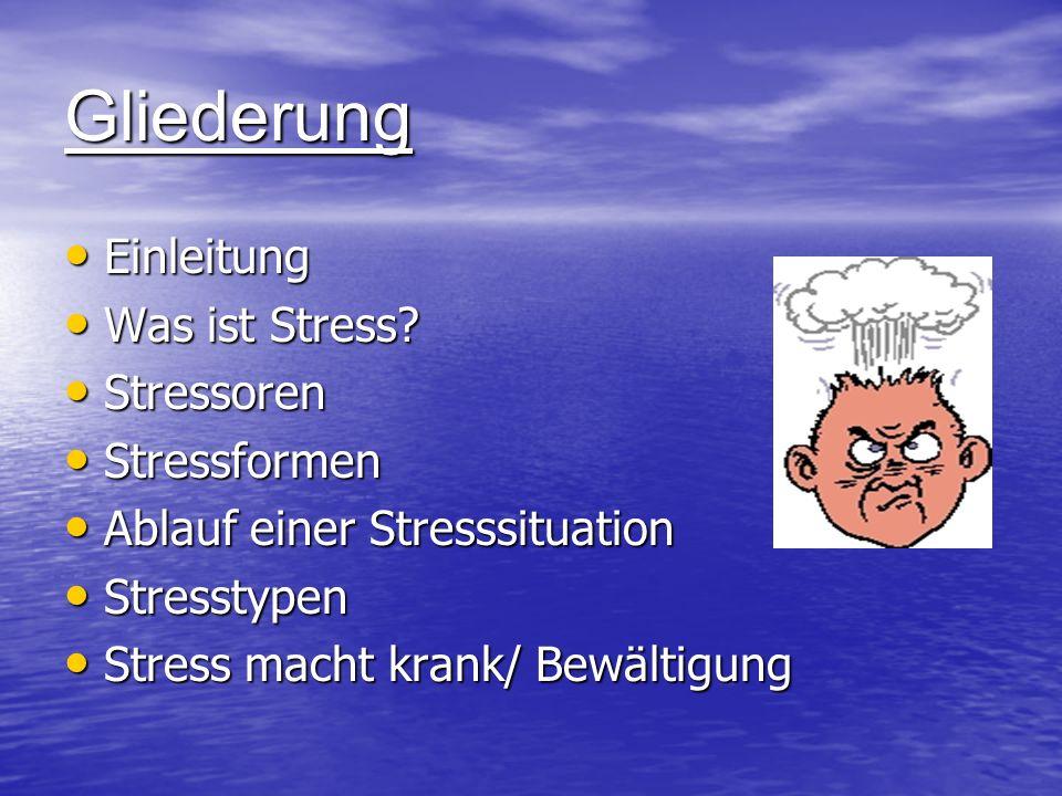 Gliederung Einleitung Was ist Stress Stressoren Stressformen