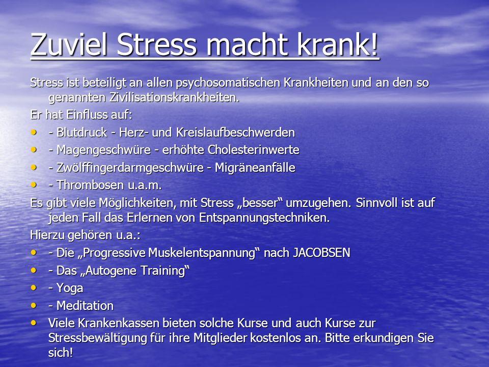 Zuviel Stress macht krank!