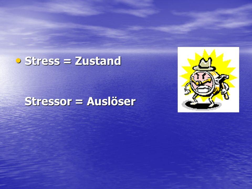Stress = Zustand Stressor = Auslöser