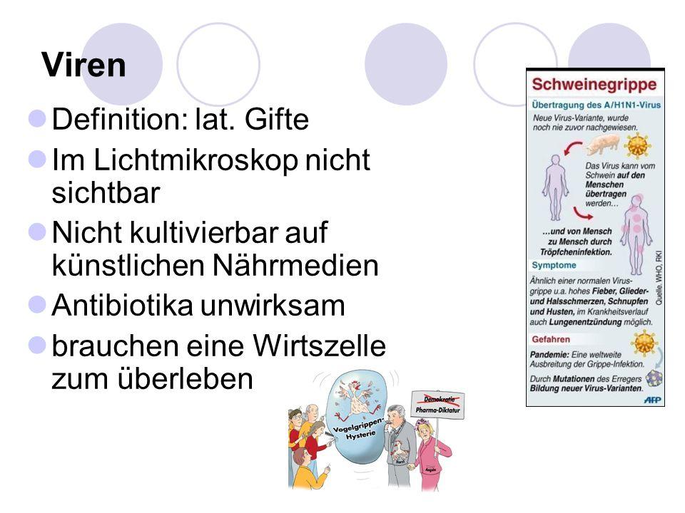Viren Definition: lat. Gifte Im Lichtmikroskop nicht sichtbar