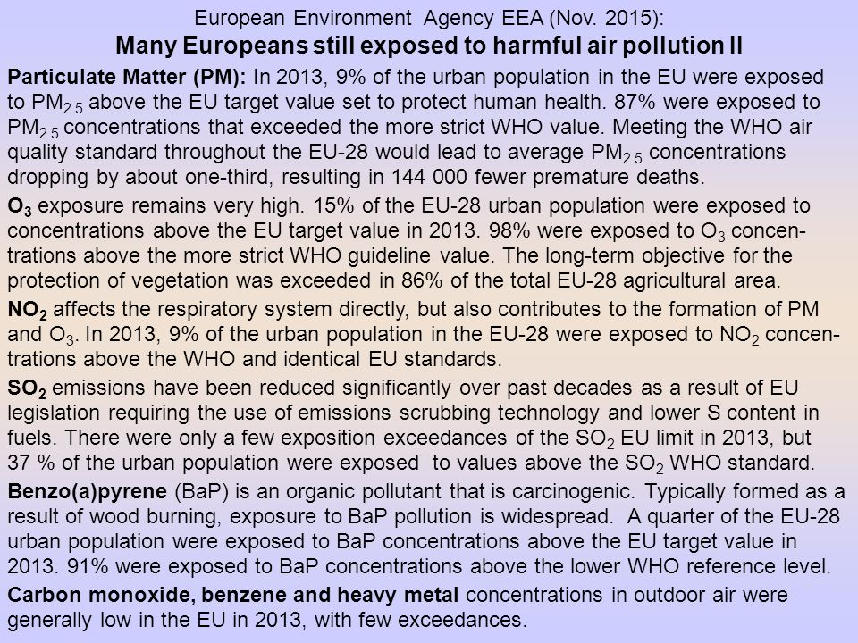 Many Europeans still exposed to harmful air pollution II
