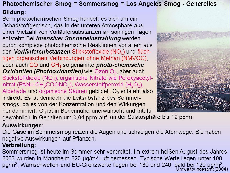 Photochemischer Smog = Sommersmog = Los Angeles Smog - Generelles