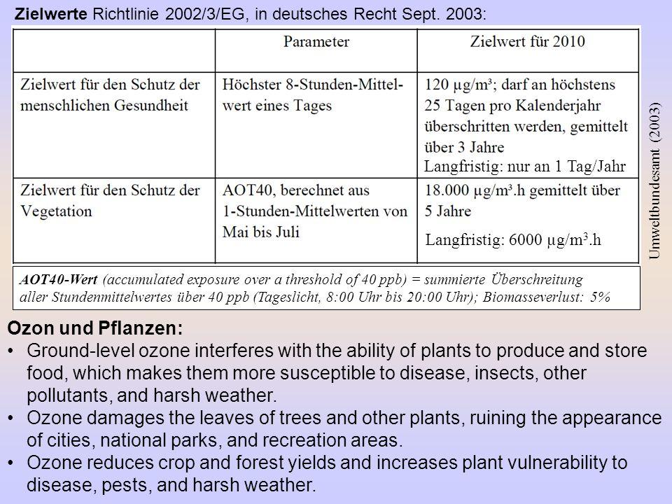 Zielwerte Richtlinie 2002/3/EG, in deutsches Recht Sept. 2003:
