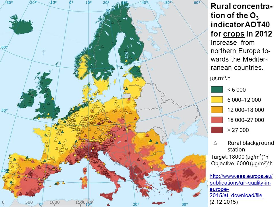 Rural concentra-tion of the O3 indicator AOT40 for crops in 2012