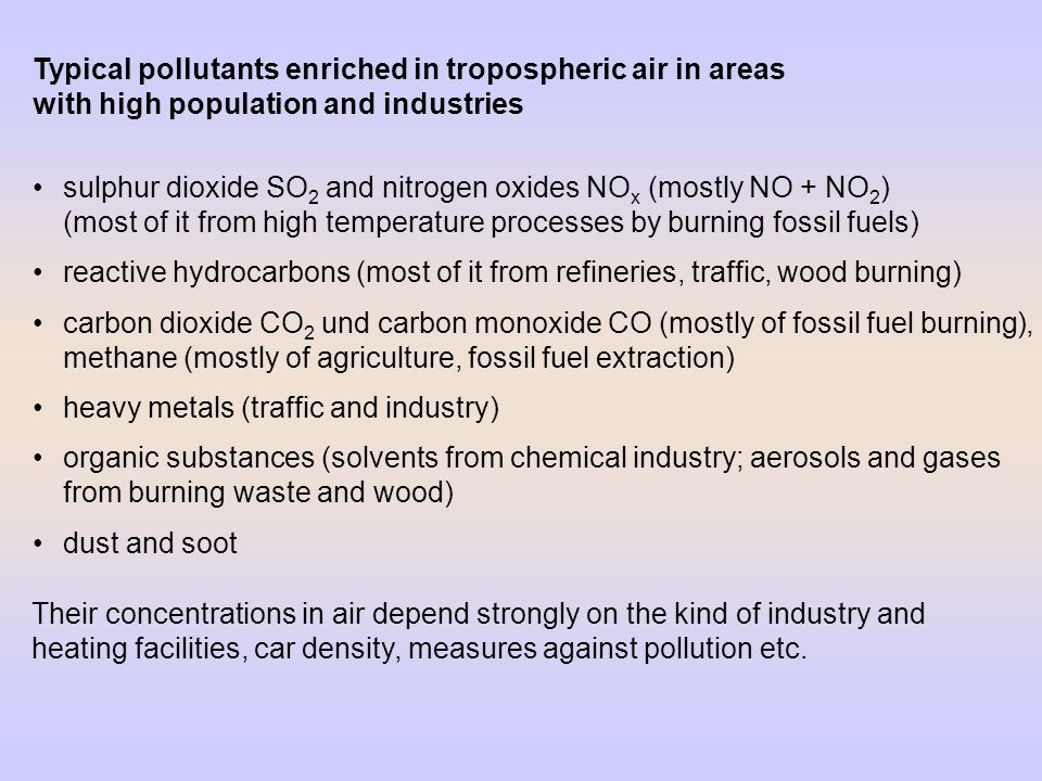Typical pollutants enriched in tropospheric air in areas with high population and industries