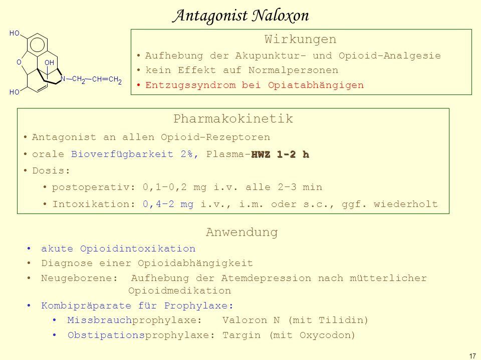 Antagonist Naloxon Wirkungen Pharmakokinetik Anwendung