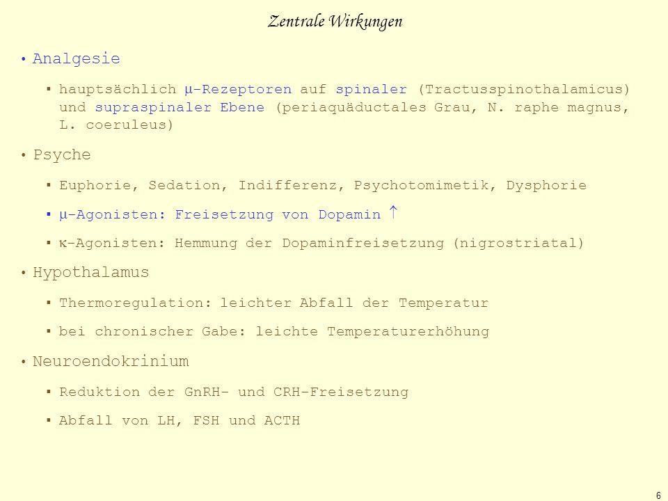 Zentrale Wirkungen Analgesie Psyche Hypothalamus Neuroendokrinium