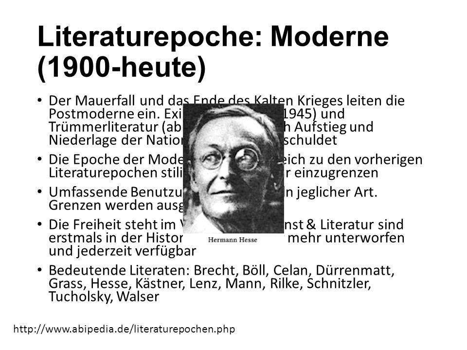 Literaturepoche: Moderne (1900-heute)