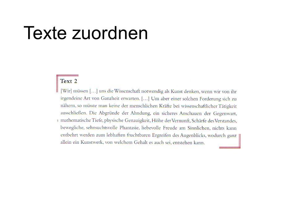 Texte zuordnen Weimarer Klassik