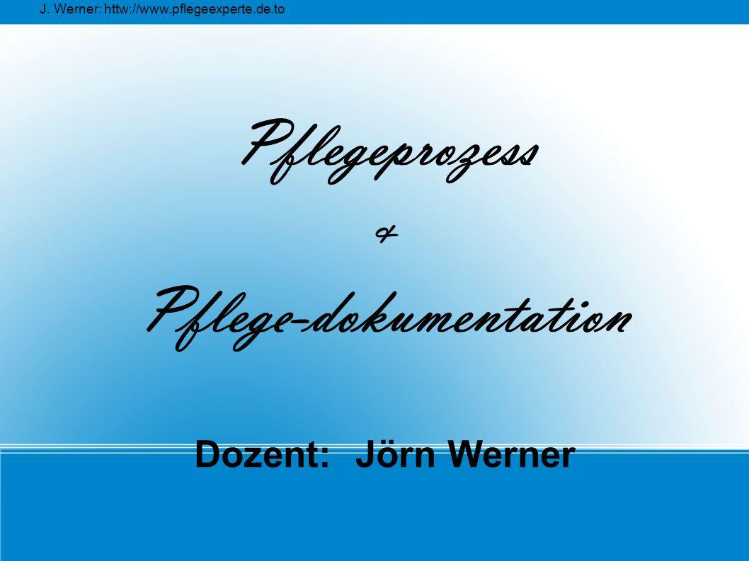 Pflegeprozess & Pflege-dokumentation Dozent: Jörn Werner