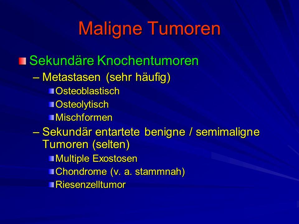 Maligne Tumoren Sekundäre Knochentumoren Metastasen (sehr häufig)