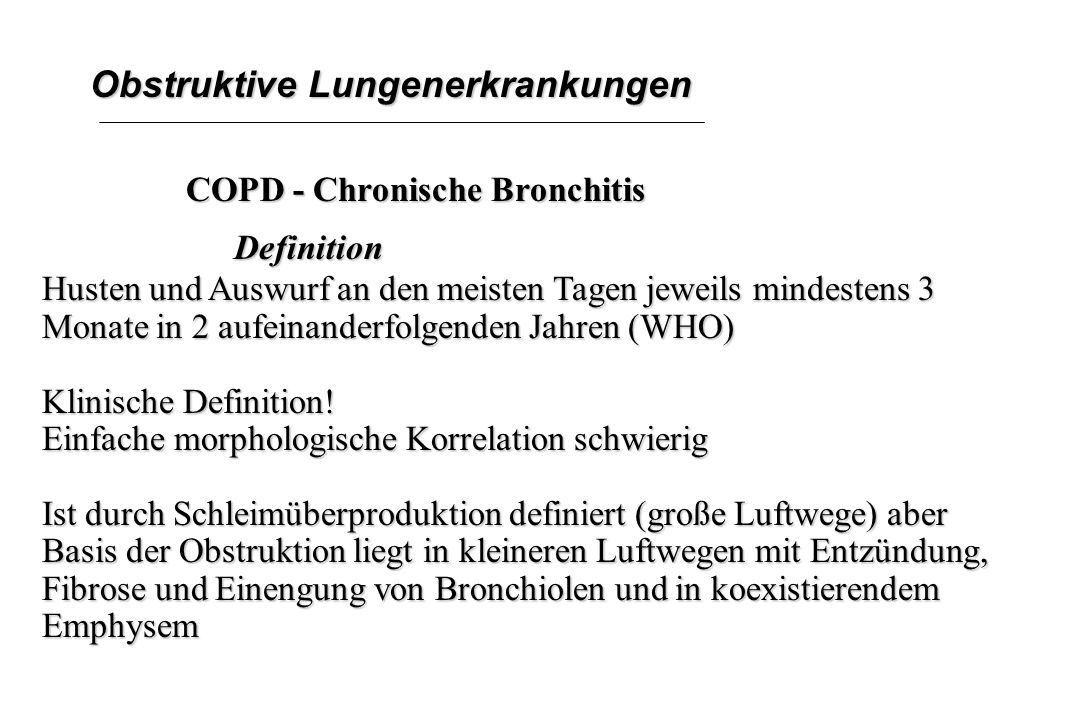 Obstruktive Lungenerkrankungen