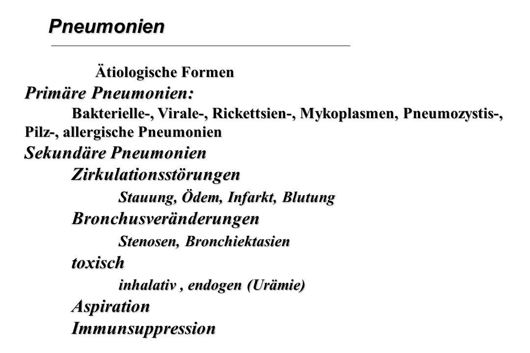Pneumonien Primäre Pneumonien: Sekundäre Pneumonien