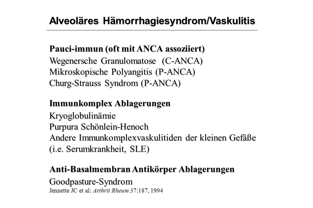 Alveoläres Hämorrhagiesyndrom/Vaskulitis
