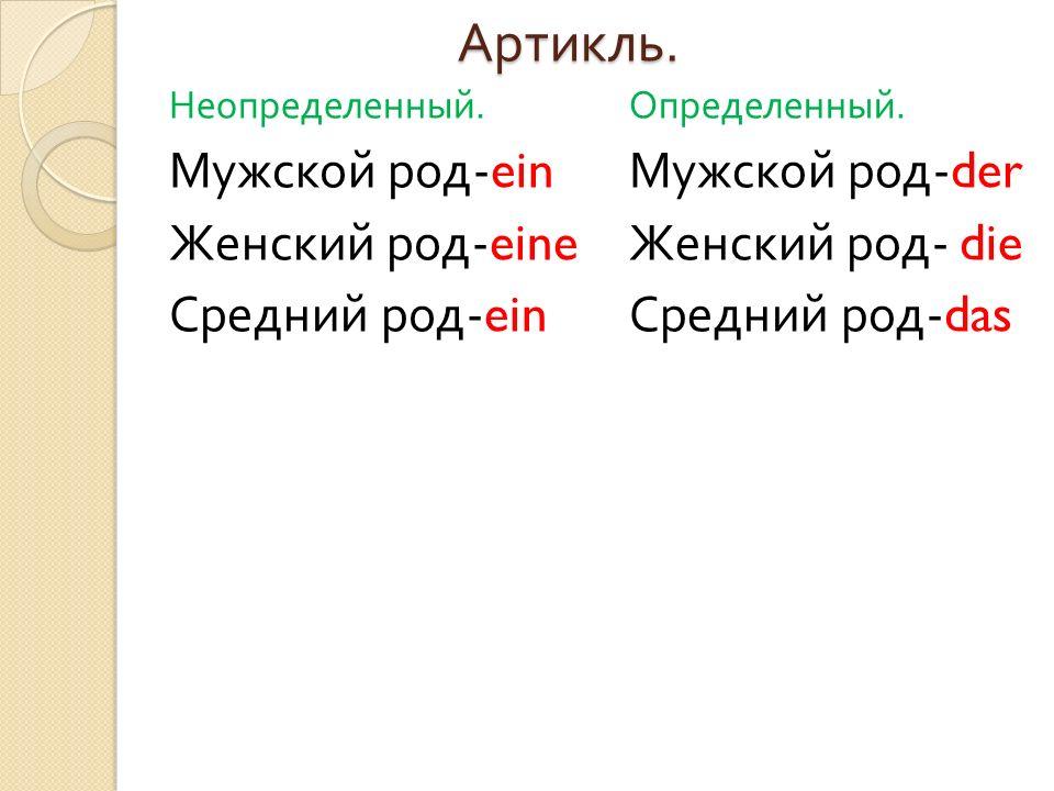 Артикль. Мужской род-ein Женский род-eine Средний род-ein
