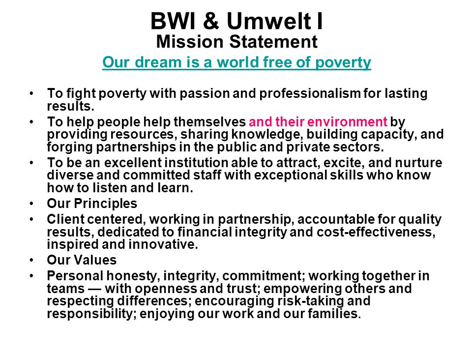 Our dream is a world free of poverty