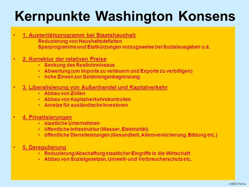Kernpunkte Washington Konsens