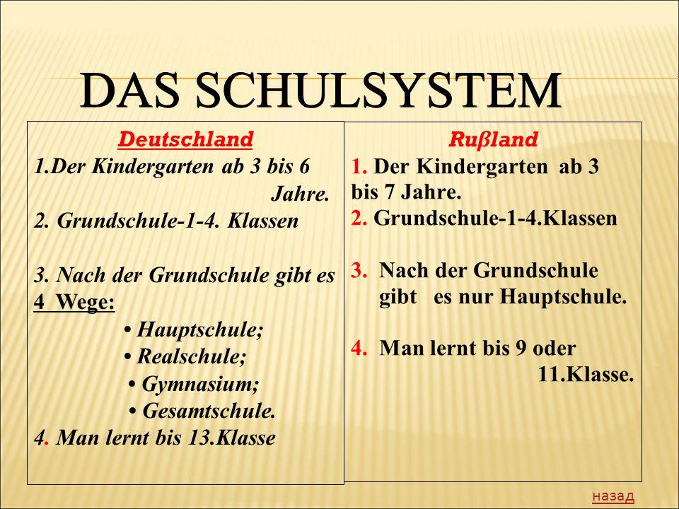 DAS SCHULSYSTEM Deutschland Der Kindergarten аb 3 bis 6 Jahre.