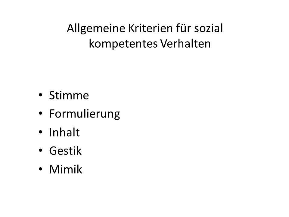 Allgemeine Kriterien für sozial kompetentes Verhalten