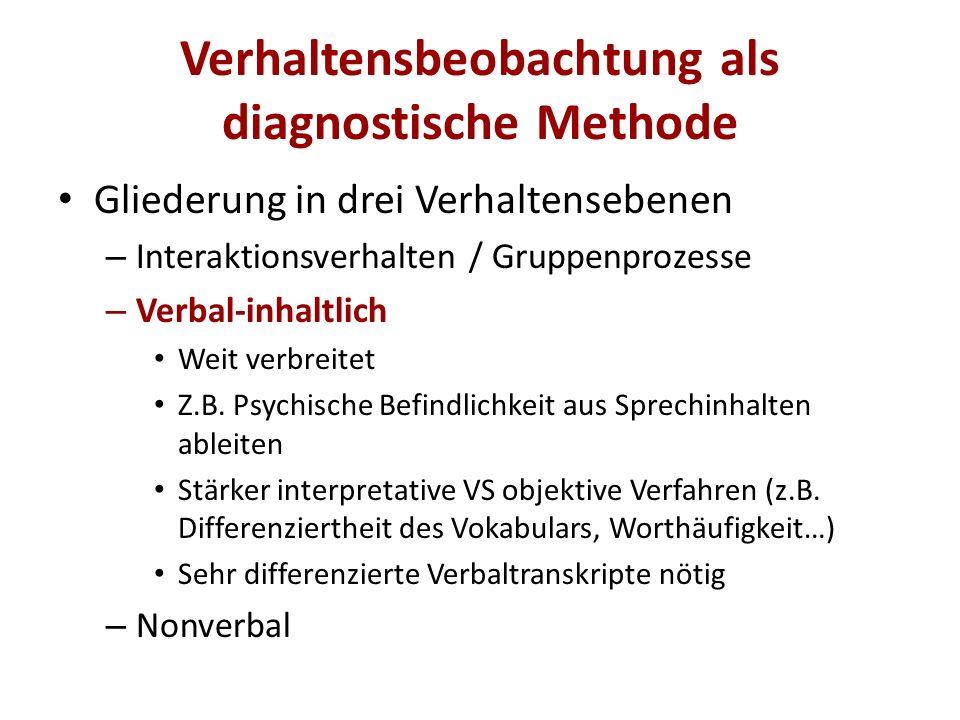 Verhaltensbeobachtung als diagnostische Methode
