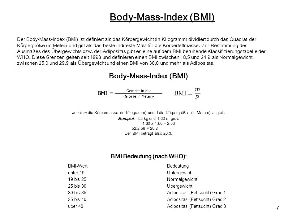 Body-Mass-Index (BMI) Body-Mass-Index (BMI)