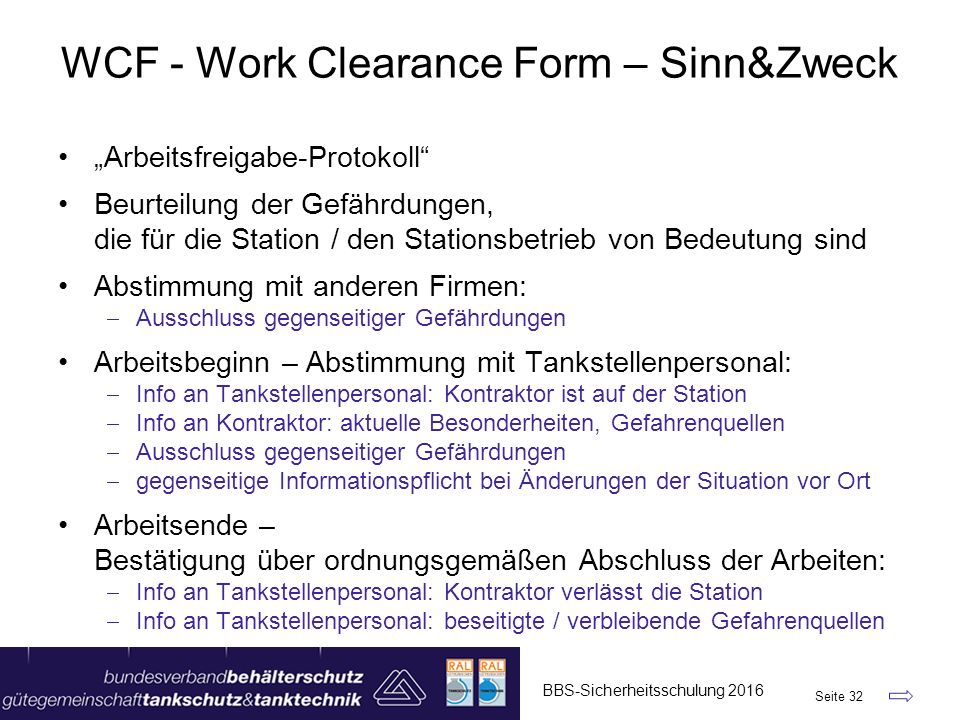WCF - Work Clearance Form – Sinn&Zweck