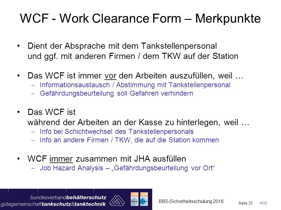 WCF - Work Clearance Form – Merkpunkte
