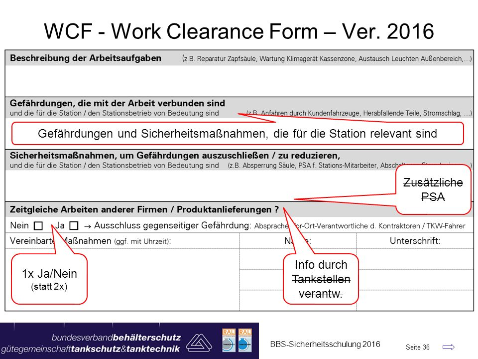 WCF - Work Clearance Form – Ver. 2016