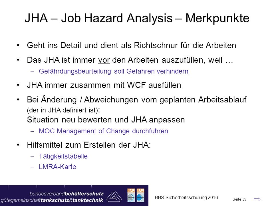 JHA – Job Hazard Analysis – Merkpunkte