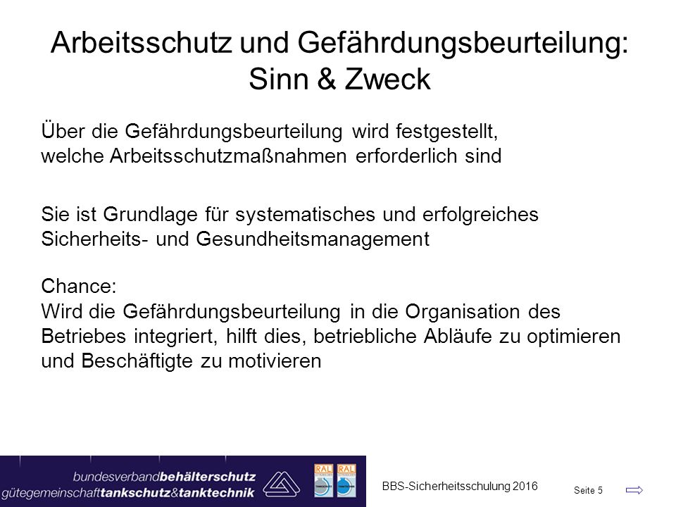 Arbeitsschutz und Gefährdungsbeurteilung: Sinn & Zweck