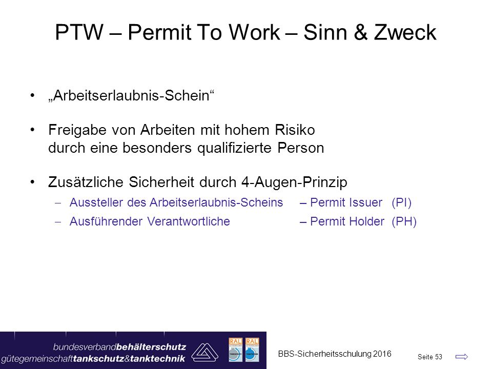 PTW – Permit To Work – Sinn & Zweck