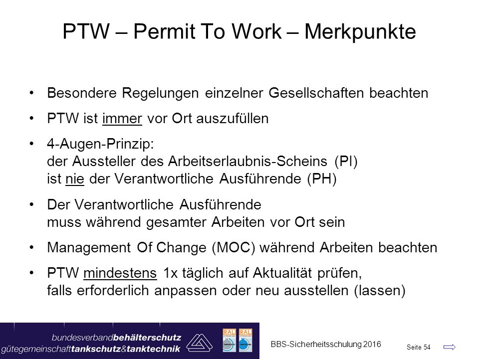 PTW – Permit To Work – Merkpunkte