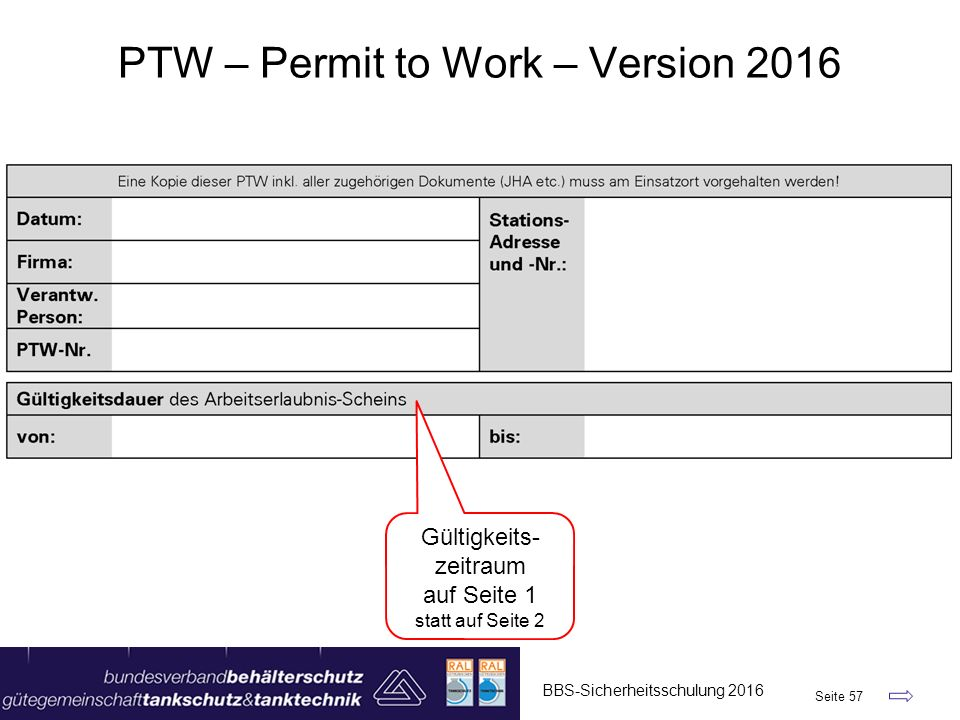 PTW – Permit to Work – Version 2016