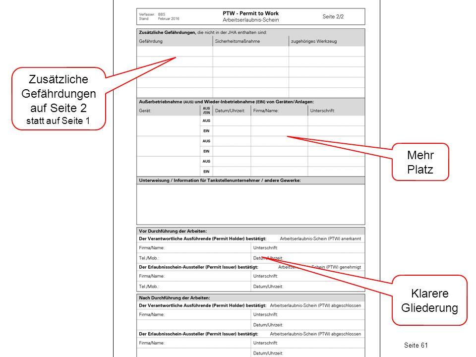 Zusätzliche Gefährdungen auf Seite 2 statt auf Seite 1