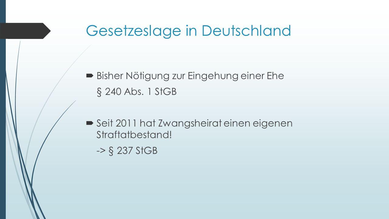Gesetzeslage in Deutschland