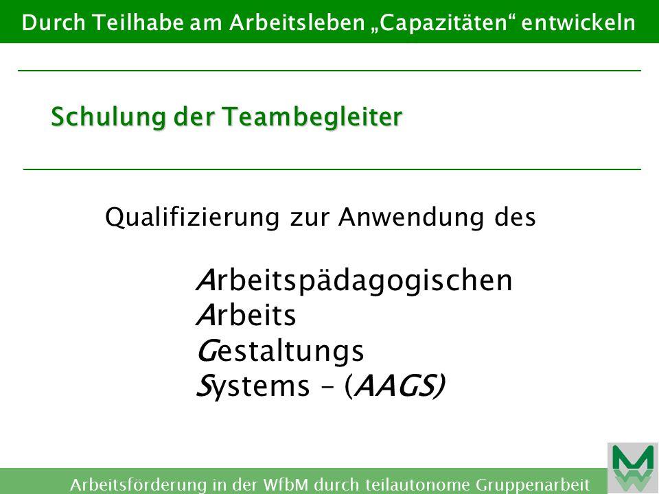 Arbeitspädagogischen Arbeits Gestaltungs Systems – (AAGS)