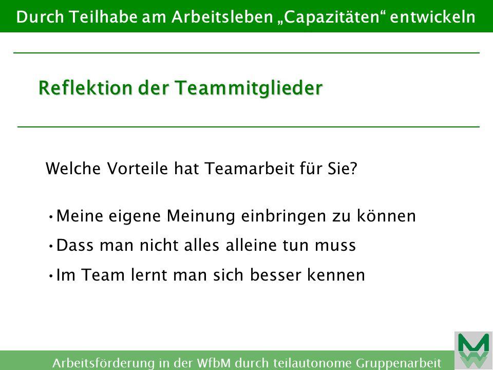 Reflektion der Teammitglieder