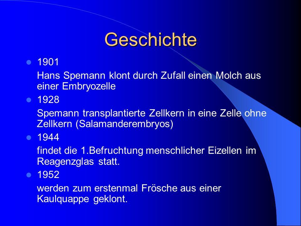 Geschichte 1901. Hans Spemann klont durch Zufall einen Molch aus einer Embryozelle. 1928.