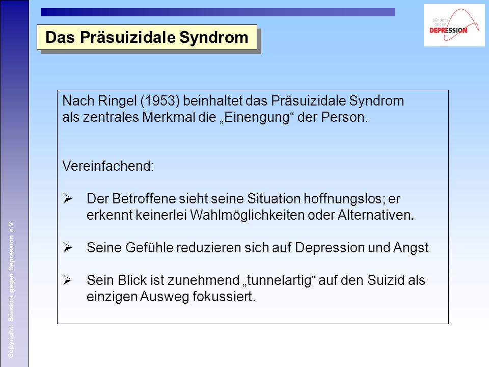 Das Präsuizidale Syndrom