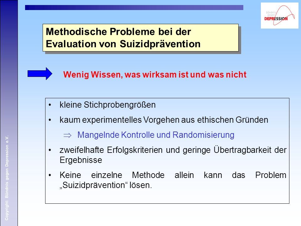 Methodische Probleme bei der Evaluation von Suizidprävention