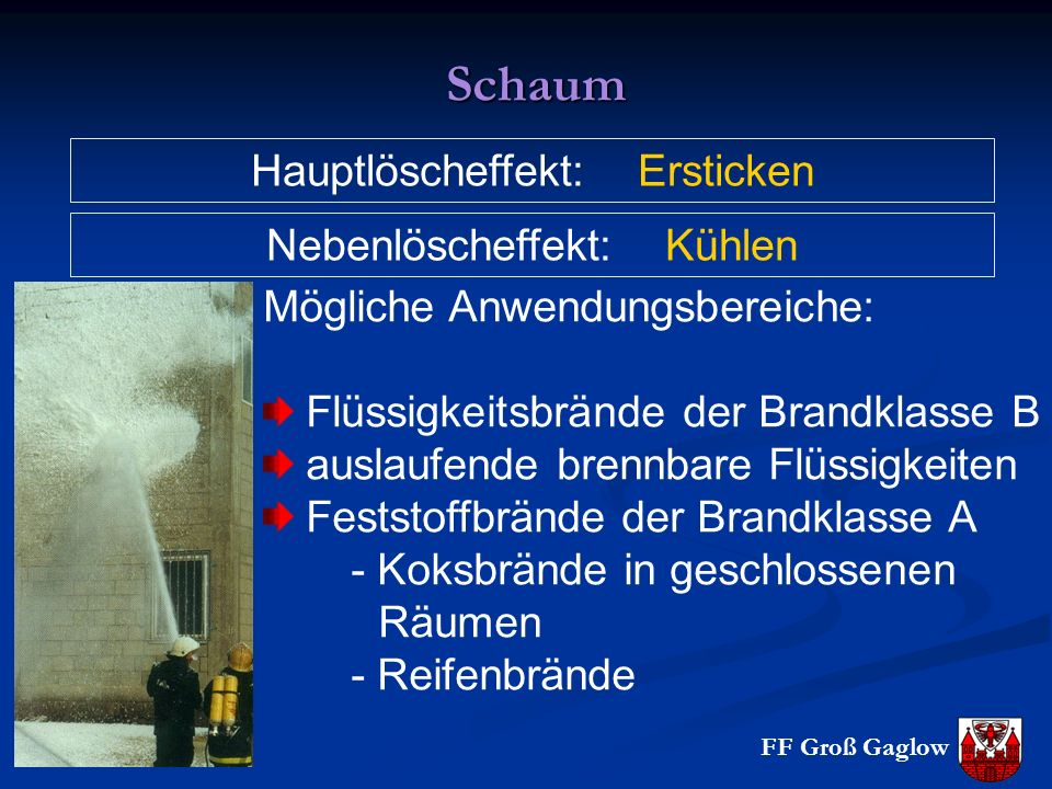 Schaum Hauptlöscheffekt: Ersticken Nebenlöscheffekt: Kühlen