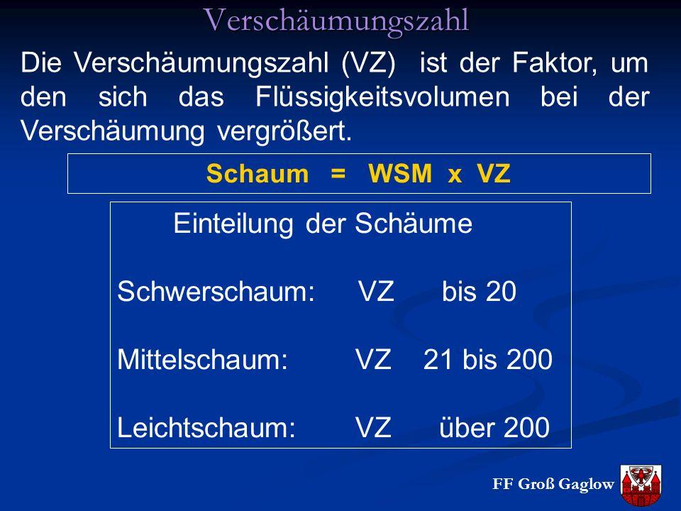 Verschäumungszahl Die Verschäumungszahl (VZ) ist der Faktor, um den sich das Flüssigkeitsvolumen bei der Verschäumung vergrößert.